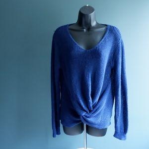 woven heart Royal blue twist tie sweater Sz M